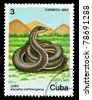 "CUBA - CIRCA 1984: A Stamp printed in CUBA shows image of a Snake with the description ""Alsophis cantherigerus"" from the series ""Fauna"", circa 1984 - stock photo"