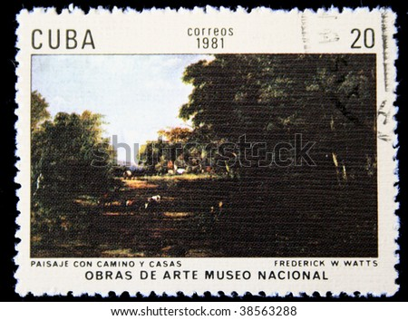 "CUBA - CIRCA 1981: A stamp printed in Cuba shows image of artist Frederick Watts ""Scenery with road and houses"", series, circa 1981 - stock photo"