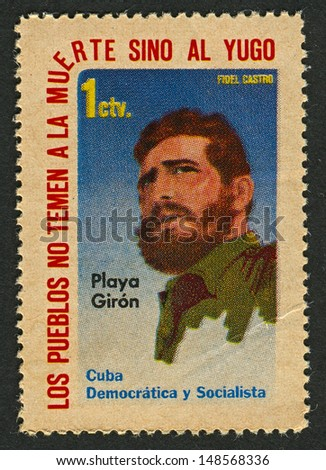CUBA - CIRCA 1962:A stamp printed in Cuba shows image of the Fidel Alejandro Castro Ruz  is a Cuban communist revolutionary and politician who was Prime Minister of Cuba from 1959 to 1976, circa 1962. - stock photo
