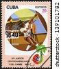 """CUBA - CIRCA 1982: A stamp printed in CUBA shows Javelin throwing, with inscription and name of series """"XIV Central American and Caribbean Games, Havana"""", circa 1982 - stock photo"""