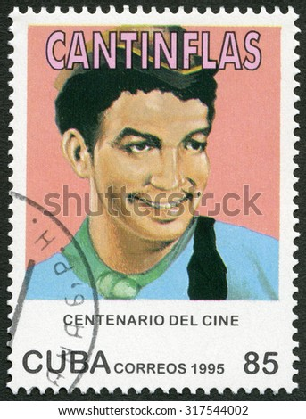 CUBA - CIRCA 1995: A stamp printed in Cuba shows Mario Fortino Alfonso Moreno Reyes, Cantinflas, (1911-1993), series Century Motion Pictures, circa 1995 - stock photo
