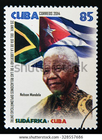 CUBA - CIRCA 2014: A stamp printed in Cuba shows Nelson Mandela, circa 2014 - stock photo