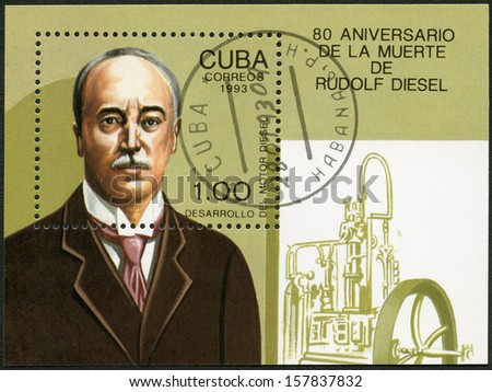 CUBA - CIRCA 1993: A stamp printed in Cuba shows  Rudolf Diesel (1858-1913), 80th anniversary of death, circa 1993 - stock photo