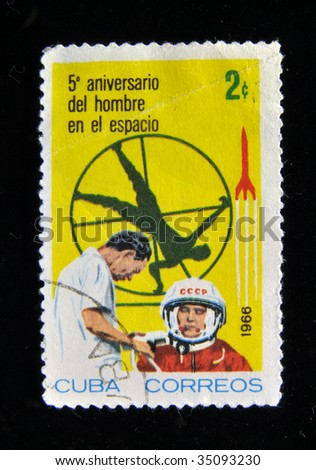 CUBA - CIRCA 1966: A stamp printed in Cuba shows Soviet astronaut Yuri Gagarin, the world's first man in space