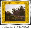 "CUBA - CIRCA 1988: A stamp printed in Cuba shows the ""Landscape with Malangas and Palm Trees"", by Valentin Sanz Carta, from the series ""San Alejandro Art School, 170th Anniv."", circa 1988 - stock photo"