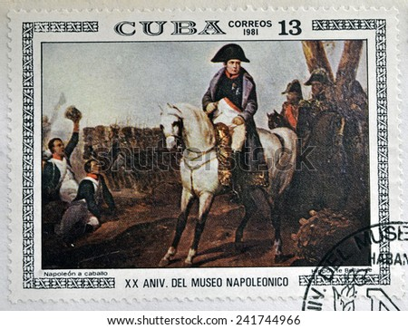"""CUBA - CIRCA 1981: A stamp printed in Cuba shows the """"Napoleon on Horseback"""", by Hippolyte Bellange, from the series """"Paintings in the Napoleon Museum"""", circa 1981  - stock photo"""