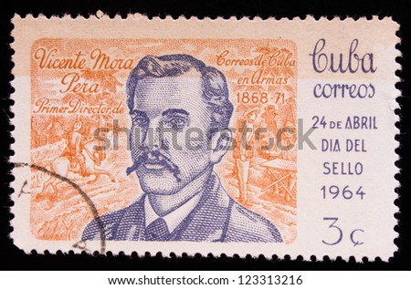 CUBA - CIRCA 1964: A stamp printed in Cuba shows the portrait of Vicente Mora commemorating april's 24, circa 1964.