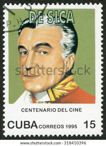 CUBA - CIRCA 1995: A stamp printed in Cuba shows Vittorio De Sica (1901-1974), series Century Motion Pictures, circa 1995 - stock photo