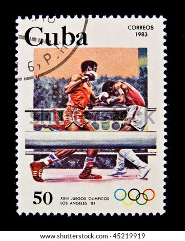 CUBA - CIRCA 1983: A stamp printed in the Cuba devoted to the Olympic Games in Los Angeles and shows Boxing, circa 1983.