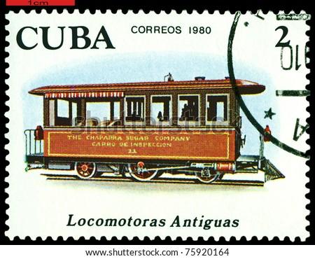 CUBA - CIRCA 1980: A Stamp printed in the  Cuba  shows  antique Chaparra Sugar locomotive, series, circa 1980 - stock photo