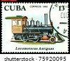 CUBA - CIRCA 1980: A Stamp printed in the  Cuba  shows  antique  locomotive 2-4-0, series, circa 1980 - stock photo