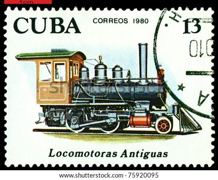 CUBA - CIRCA 1980: A Stamp printed in the  Cuba  shows  antique  locomotive 2-4-0, series, circa 1980 - stock photo
