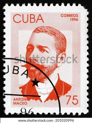CUBA - CIRCA 1996: a stamp printed in the Cuba shows Antonio Maceo, General, Revolutionary, Hero of the War of Independence, circa 1996