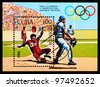 CUBA - CIRCA 1984: A stamp printed in the CUBA shows baseball, series, circa 1984 - stock photo