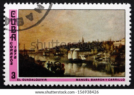 CUBA - CIRCA 1976: a stamp printed in the Cuba shows Guadalquivir River, Painting by Manuel Barron y Carrillo, National Museum, circa 1976