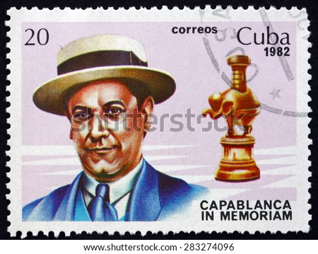 CUBA - CIRCA 1982: a stamp printed in the Cuba shows Jose Raul Capablanca and Rook, Cuban Chess Player, World Chess Champion from 1921 to 1927, circa 1982 - stock photo