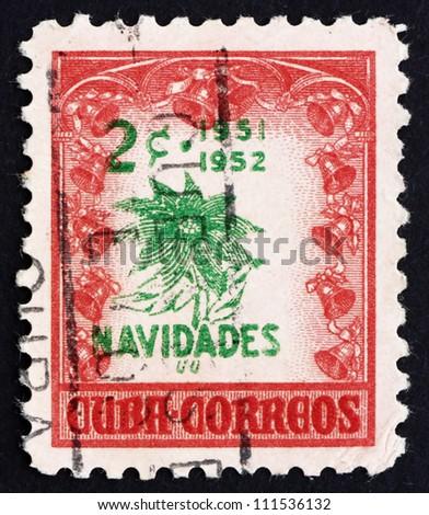 CUBA - CIRCA 1951: a stamp printed in the Cuba shows Poinsettia, Euphorbia Pulcherrima, Christmas, circa 1951 - stock photo