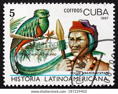 CUBA - CIRCA 1987: a stamp printed in the Cuba shows Resplendent Quetzal, Pharomachrus Mocinno, Tecum Uman Indian of Guatemala, circa 1987