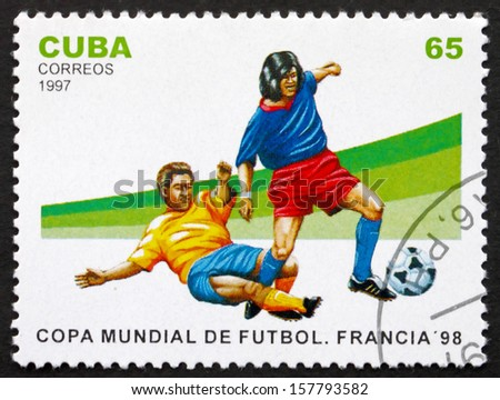 CUBA - CIRCA 1997: a stamp printed in the Cuba shows Soccer Players in Action, 1998 World Cup Soccer Championships, France, circa 1997 - stock photo