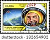 CUBA - CIRCA 1981: a stamp printed in the Cuba shows Yuri Gagarin, 1st Man in Space, 20th Anniversary of 1st Man in Space, circa 1981 - stock photo