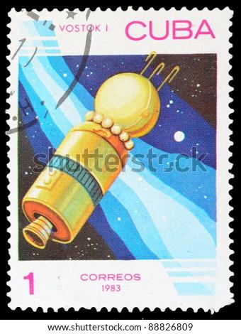 CUBA - CIRCA 1983: An airmail stamp printed in Cuba shows a space ship, series, circa 1983. - stock photo