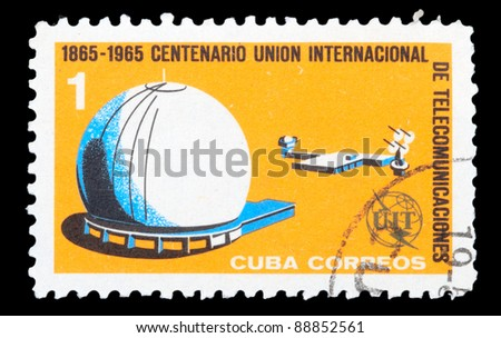 CUBA - CIRCA 1965: An airmail stamp printed in Cuba shows a space ship, series, circa 1965. - stock photo