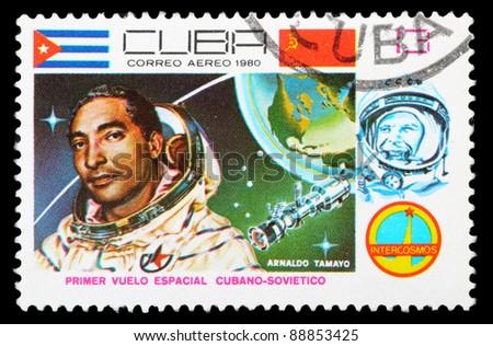 CUBA - CIRCA 1980: An airmail stamp printed in CUBA shows a spacemans, series, circa 1980. - stock photo