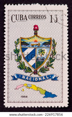 CUBA-CIRCA 1966: Cuba Coat of Arms from the Collection of Cuban Coat of Arms, published by Cuba Correos in 1966. Cuba had six provinces then each with a different Coat of Arms. - stock photo