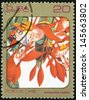 CUBA - CIRCA 1984: post stamp printed in Cuba shows image of amherstia nobilis from Caribbean flowers series, Scott catalog 2690 A730 20c, circa 1984 - stock photo