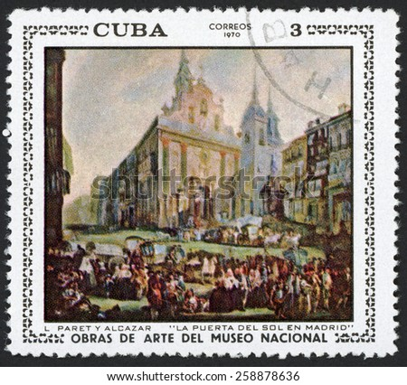 CUBA - CIRCA 1970: post stamp printed in Cuba shows Puerta del Sol Madrid (gate of sun) by L. Paret Y Alcazar; paintings in national museum; Scott 1549 A408 3c, circa 1970 - stock photo