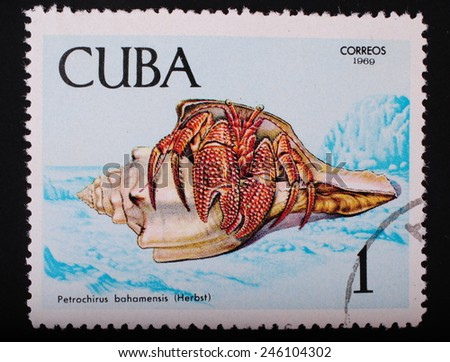 Cuba- circa 1969: Postage stamp printed in Cuba shows a color image underwater creatures crab bagemsky theme fauna philately - stock photo
