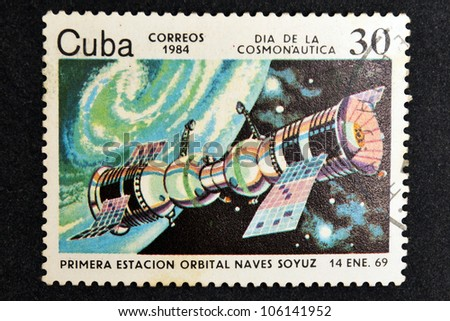 CUBA CIRCA 1984: stamp printed by CUBA, shows Cosmonautics Day - The first spacecraft Soyuz space station January 14, CIRCA 1984