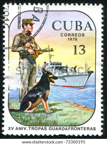 CUBA - CIRCA 1978: stamp printed by Cuba, shows Frontier Troops, circa 1978 - stock photo
