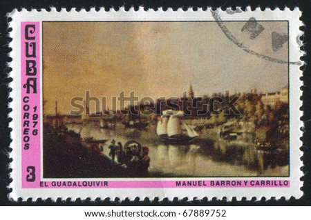 CUBA - CIRCA 1976: stamp printed by Cuba, shows Guadalquivir River, by Manuel Barron, circa 1976