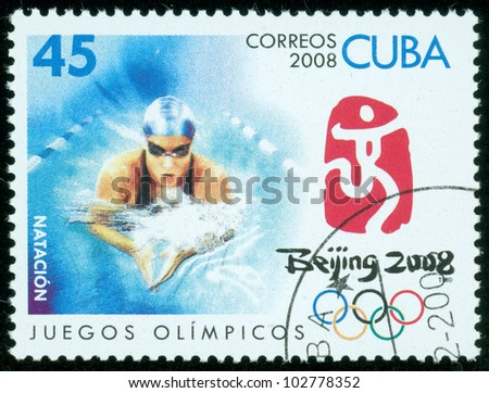 CUBA - CIRCA 2008: stamp printed by CUBA, shows Olympic games swimming?Beijing 2008?, circa 2008