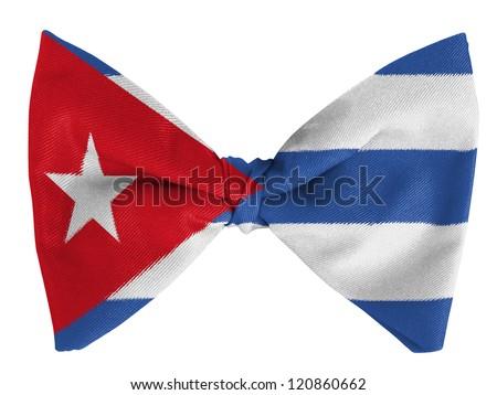 Cuba. Cuban flag  on a bow tie - stock photo