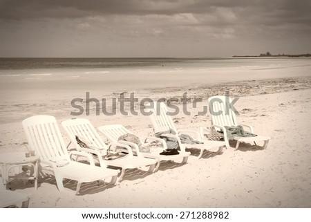 Cuba - famous Cayo Coco beach. Sepia tone - retro monochrome color style. - stock photo