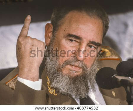 CUBA - FEBRUARY 1989: Fidel Castro, President of Cuba, during news conference. - stock photo