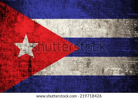 Cuba flag on old wood texture - stock photo