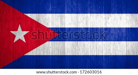 Cuba Flag on wood background - stock photo