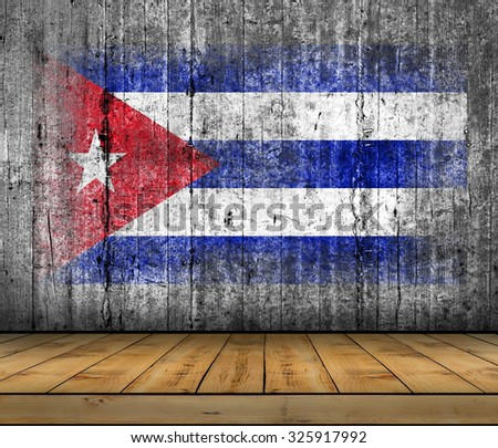 Cuba flag painted on background texture gray concrete with wooden floor - stock photo