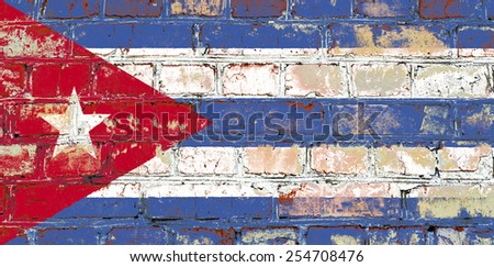 Cuba flag painted on old brick wall texture background - stock photo