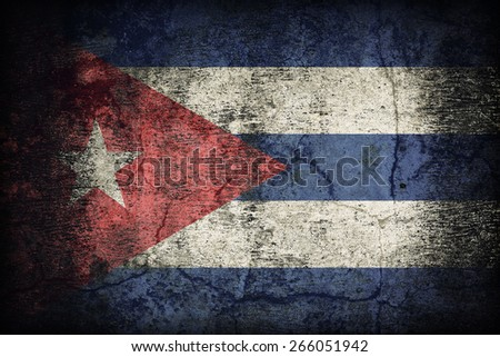 Cuba flag pattern on dirty old concrete wall texture ,retro vintage style - stock photo