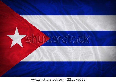 Cuba flag pattern on the fabric texture ,vintage style