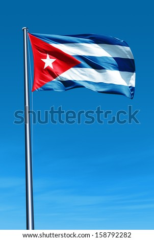 Cuba flag waving on the wind - stock photo
