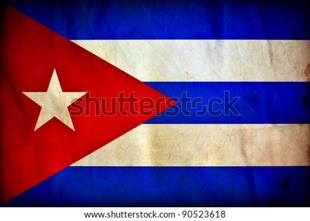 Cuba grunge flag - stock photo