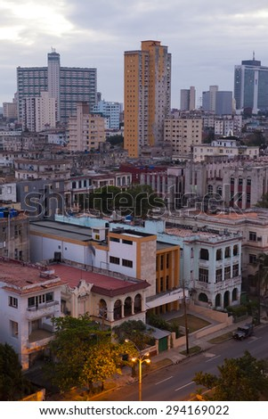 Cuba.  Havana. The top view on the avenue Presidents.