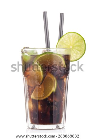 Cuba Libre Cocktail with lime on a white background - stock photo
