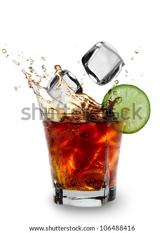 Cuba libre drink over white