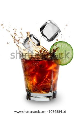 Cuba libre drink over white - stock photo